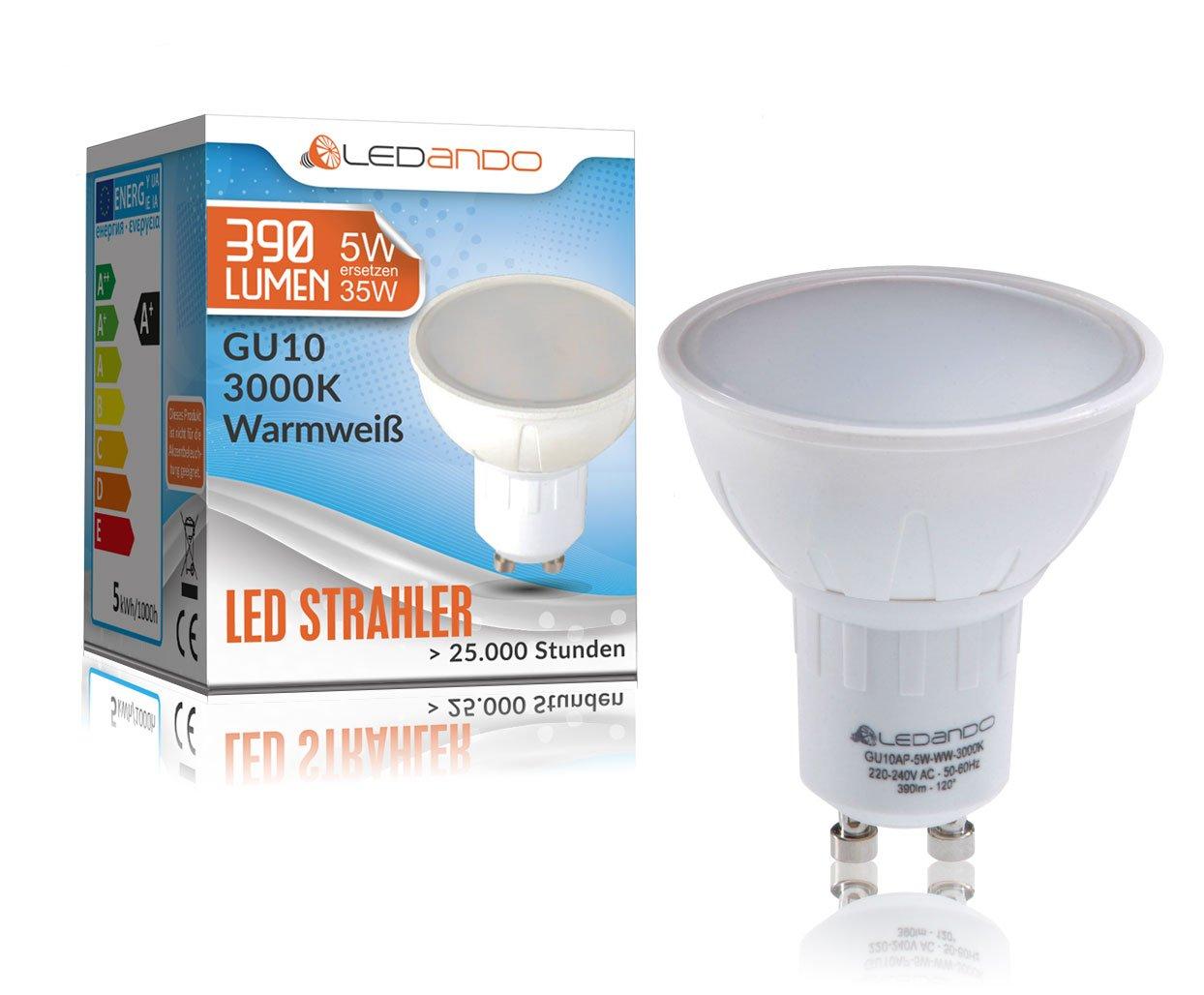 LEDANDO LED GU10 Strahler - 5Watt SMD Leuchtmittel (35W Ersatz ...