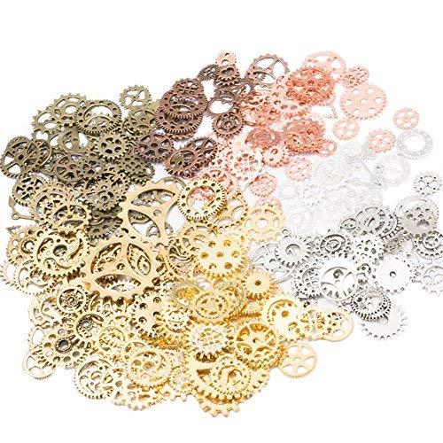 Westeng 100 Gramm Steampunk Zahnräder Retro Metall Uhren Maschinen Teile Schmuck Basteln DIY Zubehör - Mischfarben