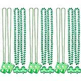 Collar de Trébol Verde de Día de San Patricio y Collar de Abalorios de Cristal Verdes Favores de Fiesta Materiales de Decoración