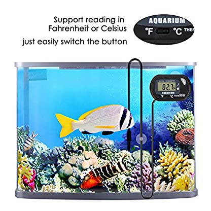 bedee Fish Tank Thermometer Aquarium Thermometer Water Thermometer Submersible Waterproof Digital LCD Aquarium… 7