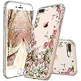 "Egotude Floral Design Hard Back Transparent Cover Case for Apple iPhone 7 Plus/iPhone 8 Plus 5.5"""