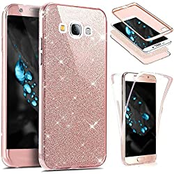 Etsue Coque Compatible avec Samsung Galaxy Grand Prime Etui Intégral 360 Degres Full Body Protection Coque Bling Brillant Glitter Transparent Coque Avant arrière Souple TPU Coque Galaxy Grand Prime