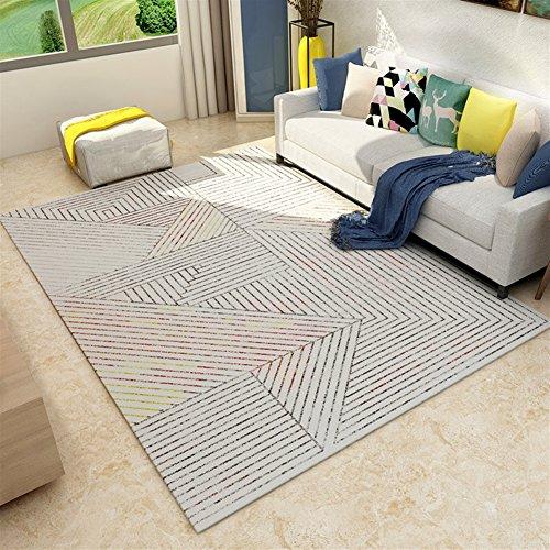 Ommda Teppiche Wohnzimmer Modern Digitales Geometrie Teppich Colorful Kurzflor Antirutsch Abwaschbar 140x200cm 9mm