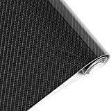 Lámina de vinilo negro de fibra de carbón impermeable 5D de 152cm x 50cm. Rollo de pegatina decorativa para automóvil