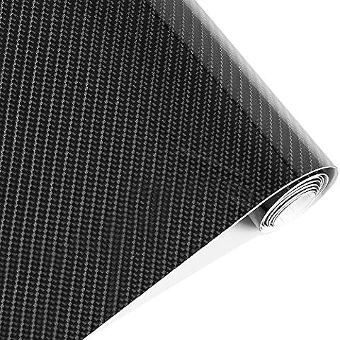 Imperméable 152cmx50cm 5d en fibre de carbone Noir Rouleau de papier Feuille de film de vinyle Auto Voiture Décor Autocollant