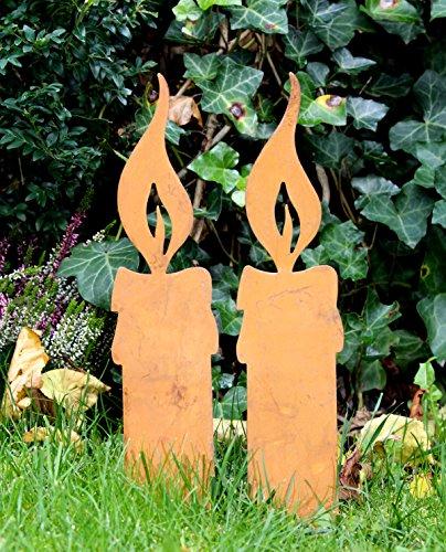 2er set gartenstecker gartendeko kerze edelrost design d for Gartendeko kerzen