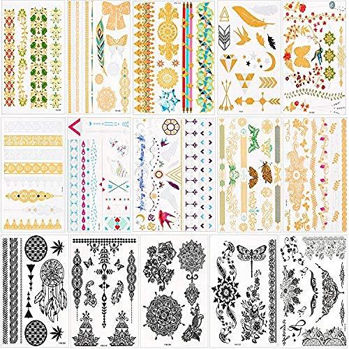 15 Blatt Wasserdicht Metallic Temporäre Tattoos Gefälschten Schmuck Tattoos Body Art Sticker Für Frauen Mädchen 200+ Design In Gold Schwarz Silber (3 Amigos Kostüm)