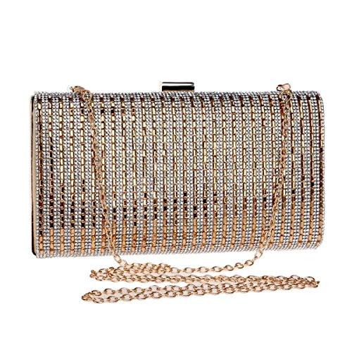 GSHGA Diamanten Handtaschen Abend Handtaschen Damen Kleider Wear Schultertaschen Messenger Bags,Black Gold