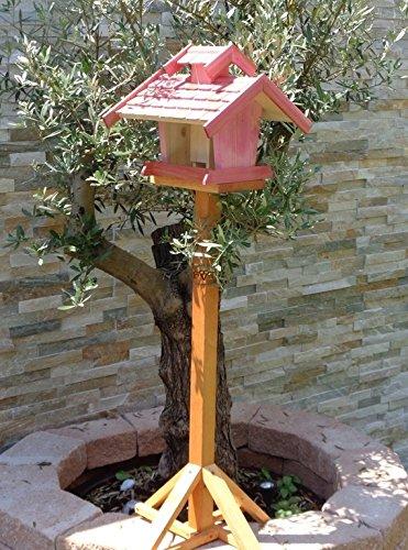 Vogelhaus-futterhaus, BEL-X-VOVIL4-pink002 Großes PREMIUM Vogelhaus WETTERFEST, QUALITÄTS-SCHREINERARBEIT-aus 100% Vollholz, Holz Futterhaus für Vögel, MIT FUTTERSCHACHT Futtervorrat, Vogelfutter-Station Farbe pink rosa rosarot süß, MIT TIEFEM WETTERSCHUTZ-DACH für trockenes Futter - 3