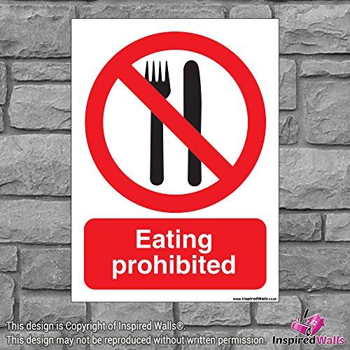 2x Essen verboten?Gesundheit & Sicherheit Warnung Verbot Schild Aufkleber -