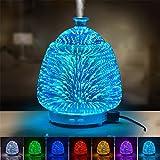 Hoomall 90ml LED Aromathérapie Huile Essentielle Diffuseur Arôme Humidificateur Portable Veilleuse avec 7 Couleurs 3D Effet Motif pr Yoga Spa Massage Maison Bureau