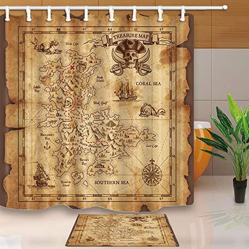 Vrupi, tenda da doccia in tessuto di poliestere resistente alla muffa, con bandiera dei pirati, con tappetino antiscivolo in flanella da 40 x 60 cm