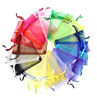 100pcs Organza Mixed Color Drawstring Jewelry Pouches Gift Bags Pockets