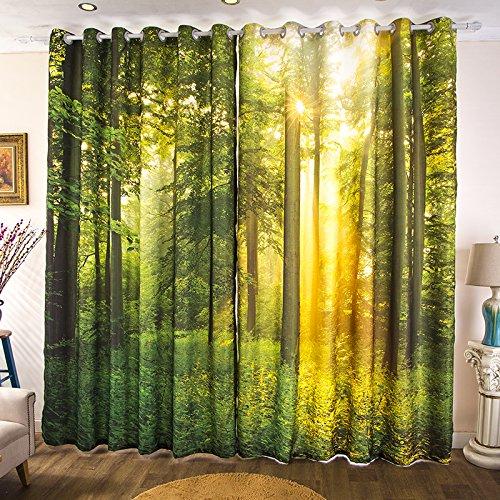 Waple personalizzato personalità moderna 3d stereo paesaggio verde foresta tema foresta camera da letto soggiorno tenda 260x260cm