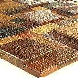 Holz Mosaik Fliesen Echtholz 30x30cm Braun Mix Lackiert