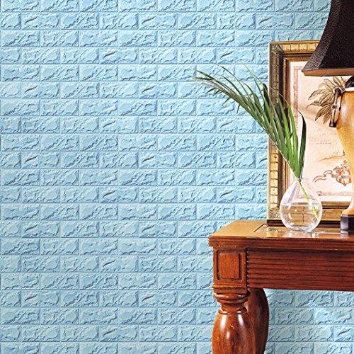 TWIFER 3D Ziegelstein Tapete, Selbstklebend Brick Muster Tapete, Wandaufkleber für Schlafzimmer Wohnzimmer moderne tv schlafzimmer wohnzimmer dekor (60 X 30 X 0.8cm, Himmelblau)