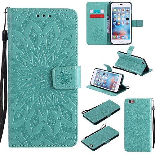 EKINHUI Case Cover Für Apple IPhone 6 & 6s Plus Case, Prägen Sonnenblumen Magnetic Pattern Premium Soft PU Leder Brieftasche Stand Case Cover mit Lanyard & Halter & Card Slots ( Color : Gray ) Green