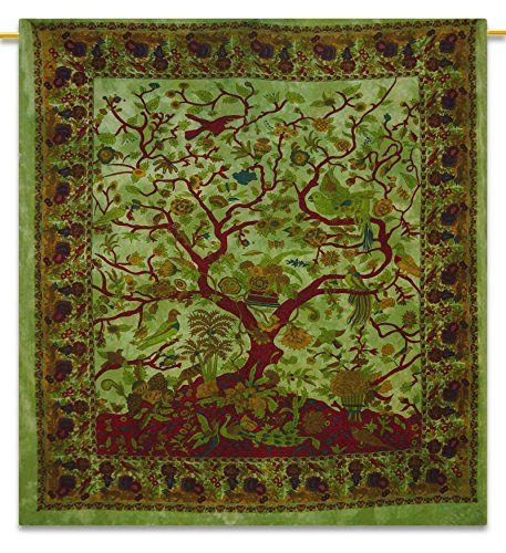 Handicrunch Tree Of Life Full Size Sheets decoratieve Bohemian Tapestry Hippie 92X82 Indian Gift