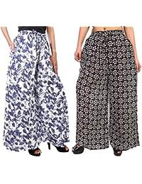 Fashion Store Women's 1 Cotton & 1 Rayon Stylish Printed Full Flair Multi-Colored Plazo (Free Size, Set Of 2) - B0774VBTGZ