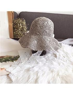 LVLIDAN Sombrero para el sol del verano Dama SolAnti-sol Fishermanstrawhat gris plegable
