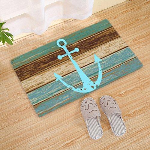 OUNONA Fußmatte Rutschfeste Bodenmatte Vordertür Teppich Schlafzimmer Matten Wohnzimmer Decor Fußmatten Teppiche 40x60 CM (nautischen Anker) - 3