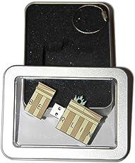 Souvenir Berlin | Geschenkidee: USB-Stick mit Schlüsselanhänger in der Form Brandenburger Tor für Frauen & Männer | inklusive Fotogalerie von Berliner Sehenswürdigkeiten | Memory Stick 8 GB | CultourStix
