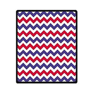 Custom Rouge Blanc Bleu Marine Chevron Bleu Coloré couverture ultra douce confortable Couverture en polaire lavable en machine ne bouloche pas 127x 152,4cm (Taille M) Canapé/Lit à utiliser pour la famille, amis