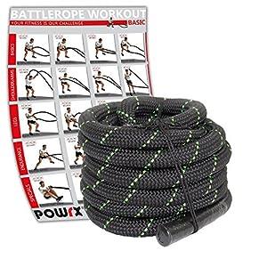 POWRX Battle Rope Premium Qualität Schwungseil inkl. Workout I Ø 38 mm I Trainingsseil Sportseil Schlagseil Tau Seil für Fitness Kraft Training I versch. Länge I Wandhalterung optional