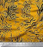 Soimoi Gold Baumwolljersey Stoff Leopard & Tiger Tierhaut