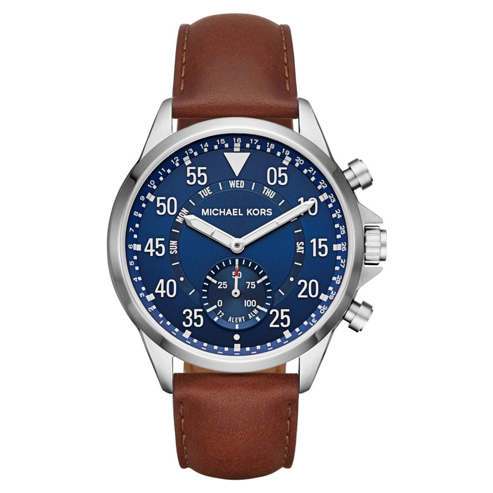 Michael Kors Mens Silvertone Leather Strap Gage Hybrid Smart Watch MKT4006