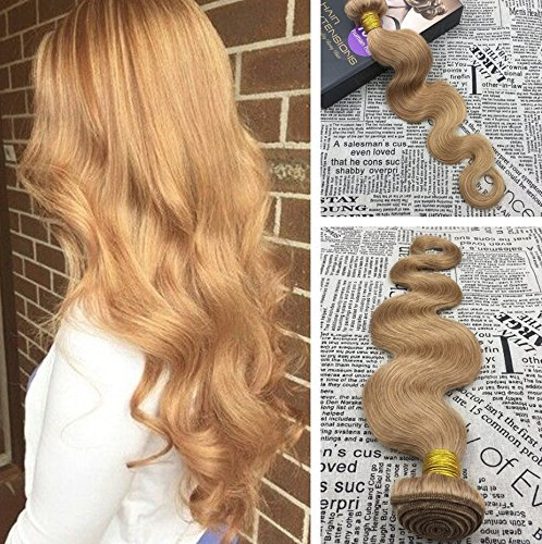 Moresoo 16 pouces/40cm Blond foncé/#27 Ondule/Body Wave Cheveux Naturel Weaving Extensions Cheveux 100% Bresiliennes Vierges Humain Tissage Hair Weave 100g/bundle