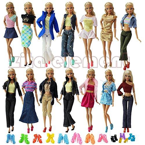 ZITA ELEMENT Lote 10 conjunto de estilo de mezcla de moda Hecho a mano ropa Outfit + 10 pares de zapatos para Barbie Doll XMAS regalo