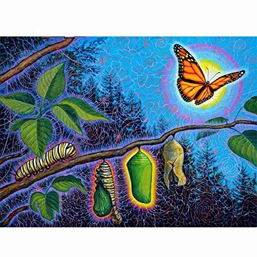 CNLSZM DIY Diamant malerei kreuzstich kit Schmetterling Fantasie Handwerk Handarbeit 5d mosaik Diamant Stickerei runde 70x90cm (Live-schmetterling-kit)