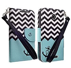 Customerfirst - Flip Wallet Pouch, Slim Folio Case with Kickstand, 2 Credit Card Slot Wallet Pouch Leather Wallet Folio Case, Credit Card ID Slots, Currency Pocket, Hand Strap For HTC Desire 510 (Sprint/Boost Mobile/Virgin Mo