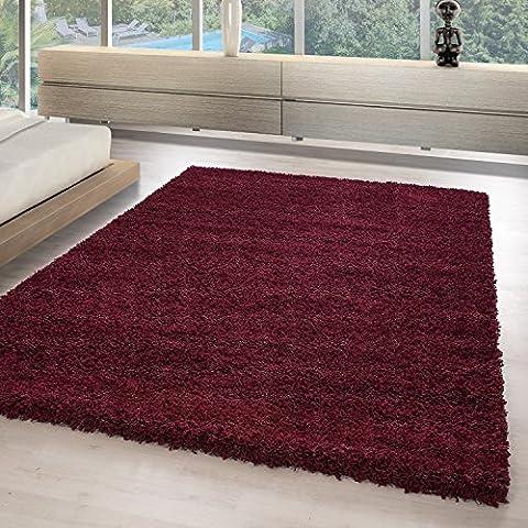 Hochflor Shaggy Teppiche für Wohnzimmer, Esszimmer, Gästezimmer, Jugendzimmer, Babyzimmer mit 3 cm Florhöhe einfarbig Wohnzimmer Teppiche. Die Teppiche mit OKOTEX zertifiziert und aus 100%Polypropylen hergestellt. Gewicht 2000 g/gm, Maße:80x150 cm, (Teppich Rot)