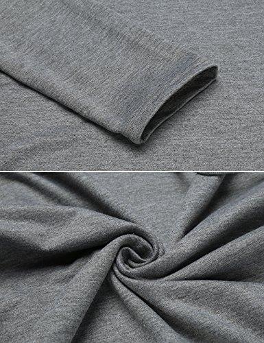 Beyove Damen Elagant Kapuzenpullover Sweatshirt Hoodie Pullover Pulli Tunika mit Taschen Grau