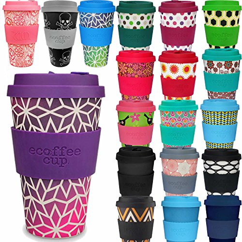 LS Design Öko eCoffee Cup 400ml Coffee to Go Becher Silikonring Bamboo Bambus Lila Pink