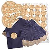 24 kleine blaue Papier-Tüten beige weiß creme-farben SCHÖN DASS DU DA BIST 9,5 x 14 cm + 24 runde Aufkleber 4 cm vintage nostalgie shabby Verpackung give-away Tischdeko Hochzeit Geburtstag