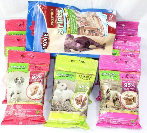 Natures Menu Dog Treat Pack - 9 Bags of Treats - 3 of each flavour + Free Bag of Trixie Chicken and Pollock (no added sugar)