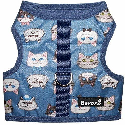 Beroni Katzengeschirr Cat Walking Jacket Brustgeschirr Weste ausbruchsicher No Escape Blau Wasserabweisend (Small)