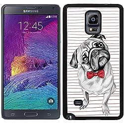 Funda carcasa TPU (Gel) para Samsung Galaxy Note 4 perro carlino con pajarita borde negro