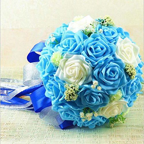Simulation mousse Roses mariée tenant des fleurs bouquet de mariage fleur artificielle cadeau de mariage ( Color : Blue )