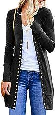 Saingace Women Open Front Button Down Solid Crochet Cardigan Long Sleeve Jacket Sweater Shrug Coat