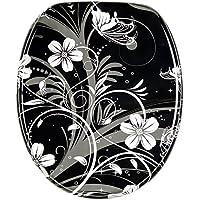 WC Sitz mit Absenkautomatik, hochwertige Oberfläche, einfache Montage, stabile Scharniere, White Flower