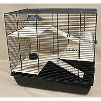 Nagerkäfig, Hamsterkäfig, Käfig, Etagen-Käfig REX 3 schwarz Holzausstattung