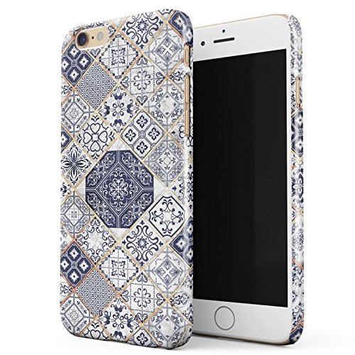 BURGA iPhone 6 / 6s Case, Tranquil Waters White Gold Marble Blue Moroccan Tiles Pattern Mosaic Thin Design Durable Hard Plastic Protective Case For Apple iPhone 6 / 6s
