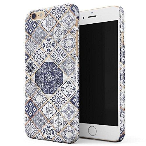 Marokkanische Henna-design (iPhone 6 / 6s Hülle, BURGA Licht Blau Weiß Mit Gold Marmor Marble Muster Moroccan Tiles Mosaik Dünn, Robuste Rückschale aus Kunststoff Für iPhone 6 / 6s Handyhülle Schutz Case Cover)