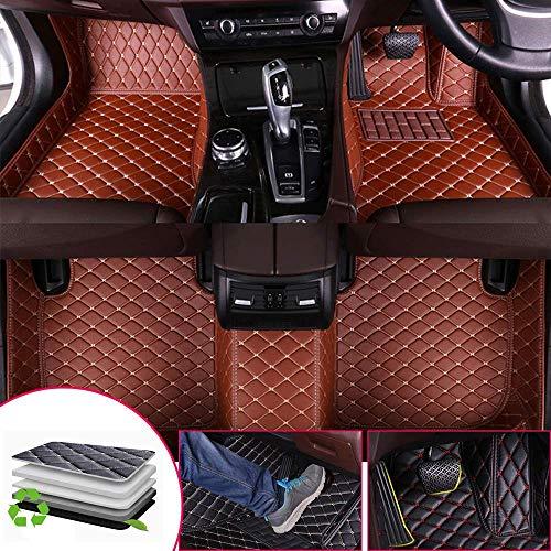 Tuqiang Auto-Fußmatten Leder Passt für J EEP Grand Cherokee WK2 2011-2018 3D-Volldeckung Wasserdichte Bodenmatten Automatten Braun (Rechtslenker geeignet) -