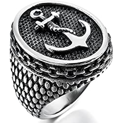 MunkiMix Acero Inoxidable Anillo Ring El Tono De Plata Negro Ancla Náutico Talla Tamaño 25 Hombre