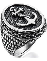MunkiMix Acero Inoxidable Anillo Ring Plata Oro Dorado Tono Negro Ancla Náutico Hombre
